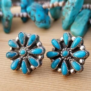 Vintage Turquoise Sterling Silver Earrings